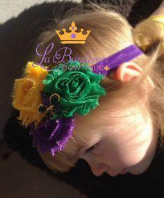 Shabby Chic Mardi Gras Headband in Purple by LaBandeauxBowtique, $8.50