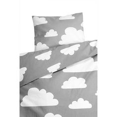 Bedding Set . Toddler - Clouds Grey