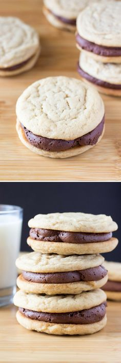 Two soft & chewy cookies slathered with milk chocolate buttercream. If you like peanut butter cups - these Peanut Butter Sandwich Cookies with Chocolate Frosting are for you.(Chocolate Pudding For Two) Just Desserts, Delicious Desserts, Yummy Food, Peanut Butter Sandwich Cookies, Cookie Sandwiches, Peanut Butter Cups, Cookie Recipes, Dessert Recipes, Salad Recipes
