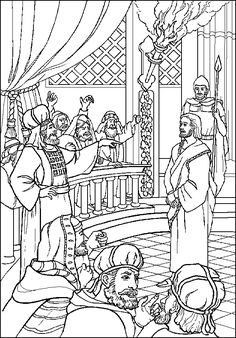 Jesus before the Sanhedrin  Bible coloring pages