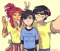 ya-ssui: X and Star found these shirts and thought it would be a great idea to force Dick to wear one with them whenever they all go out together.