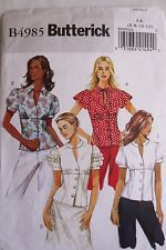 Butterick B 4985 sewing patterns misses' tops size 8 only
