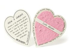 Bloomin Mini Pink Heart-Shaped Seed Paper Enclosure Cards 9 Card Set - Perfect for Valentine's Day, Mother's Day and Wedding Anniversaries! Paper Gifts, Diy Paper, Paper Clay, Origami, Seed Paper, Diy Ostern, Invitation, Craft Gifts, Card Crafts