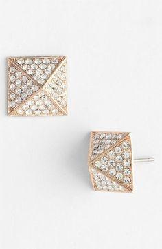 rose gold crystal stud earrings