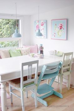 Chalk Painted Chairs in the Dining Room