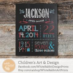 Birth Announcement Chalkboard Sign - PRINTED & SHIPPED - Chalkboard Birth Print, Birth Announcement, Chalkboard, Chalkboard Print