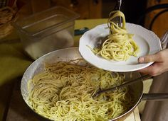 "Spaghetti Cacio e Pepe Recipe - Pasta cacio e pepe (""cheese and pepper"") is made with Pecorino Romano, a tangy aged sheep's-milk cheese originally from Rome, and lots of freshly ground black pepper. Easy Pasta Recipes, Spaghetti Recipes, Wine Recipes, Cooking Recipes, Pasta Spaghetti, Pasta Recipies, Creamy Spaghetti, Cheese Spaghetti, Recipes Dinner"