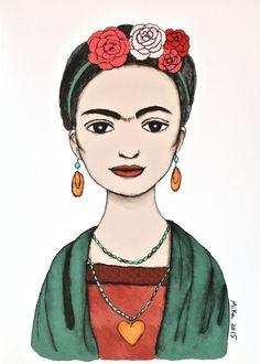 Frida Kahlo Portrait Print Frida Kahlo Illustration by mikaart…
