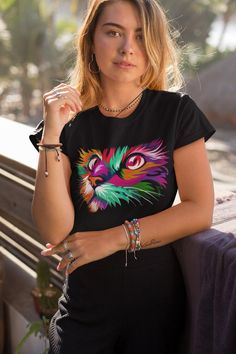 An exclusive and adorable Cat T-Shirt. Great for Cat Lovers,Kids and Adult , Enjoy with this Colorful Art Tshirt!. This multicolor cat shirt is perfect for cat owners and crazy cat ladies!. Cat Shirts, Bike Shirts, Cool T Shirts, Cat Colors, Perfect Fit, Life Design, T Shirts For Women, Cat Face, Crazy Cat Lady