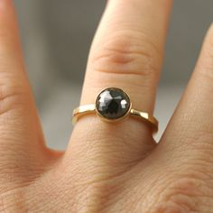 Rose Cut Black Diamond Engagement Ring- One Of A Kind. $2,000.00, via Etsy.
