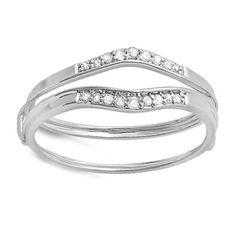 10k White Gold 1/8ct TDW Diamond Enhancer Guard Wedding Band (I-J, I2-I3) | Overstock.com Shopping - Top Rated Wraps & Guards