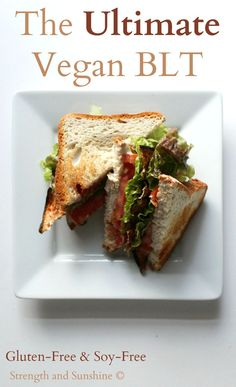 The Ultimate Vegan BLT that's also gluten-free and soy-free. Smoky eggplant bacon, crisp lettuce, ripe tomato, and a homemade tahini based mayo, sandwiched between two toasty pieces of your favorit...