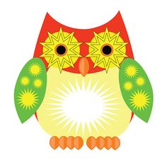 Star Owl - Red Yellow Green http://www.redbubble.com/people/adamzworld/works/10845133-star-owl-red-yellow-green