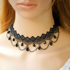 Victorian Inspired Lace Choker Necklace with Chains