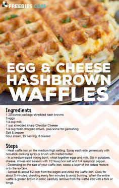 A yummy take on breakfast that you can make in your waffle maker! - Waffle Maker - Ideas of Waffle Maker Breakfast Waffles, Breakfast Dishes, Breakfast Recipes, Breakfast Ideas, Pancakes, Mini Waffle Recipe, Waffle Maker Recipes, Easy Cooking, Cooking Recipes