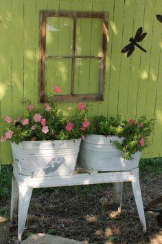 Wash tub planters