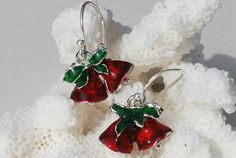 Christmas Bell Earrings Red Christmas Jewelry by ornatetreasures