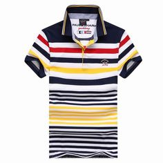 Paul Shark Yachting Striped Short Sleeved Polo Stand Collar T Shirt Navy Red Yellow