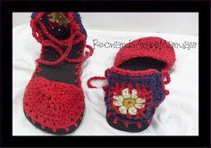 ... Recriando Artes Manuais ...: Sapato de crochê - modelo boneca com mandala atrás...