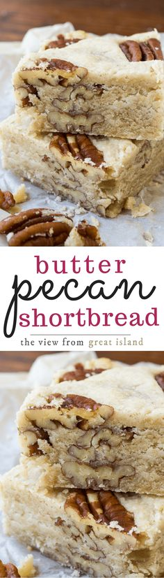 Pecan Shortbread Butter Pecan Shortbread is a classic buttery shortbread loaded up with crunchy pecans ~ and everybody goes nuts for it!Butter Pecan Shortbread is a classic buttery shortbread loaded up with crunchy pecans ~ and everybody goes nuts for it! Dessert Oreo, Cookie Desserts, Dessert Bars, Just Desserts, Cookie Recipes, Delicious Desserts, Yummy Treats, Dessert Recipes, Yummy Food