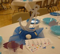 table decoration - Ocean cruise theme, upside down styrofoam bowl covered with fabric for base