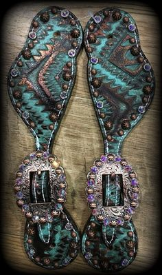 Turquoise & Brown Aztec Hide Spur Straps IN STOCK - DEUCES WILD TACK LLC