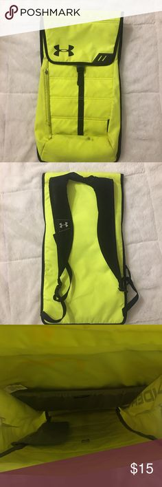 Under Armour Backpack Neon Yellow Under Armour Backpack Neon Yellow. Great for sports or the gym. Slightly worn. Some stains and a missing zipper. Under Armour Bags Backpacks