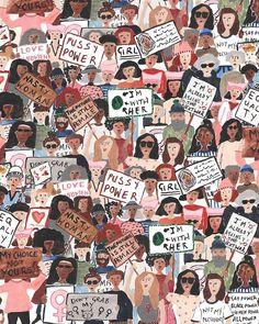Design illustration poster life 59 Ideas for 2019 Protest Kunst, Protest Art, Art And Illustration, Illustrations, Watercolor Illustration, Feminist Art, Power Girl, Woman Power, Powerful Women