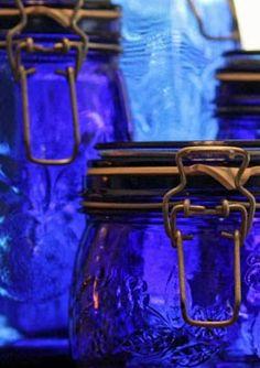 Bright blue glass jars.