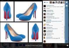 Christian Louboutin pays tribute to Elvis' Blue Suede Shoes on Instagram! Elvis Blue Suede Shoes, Pumps, Heels, Shoe Boots, Christian Louboutin, Instagram, Products, Fashion, Heel