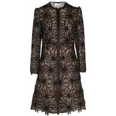 Valentino Leather-trimmed embroidered mesh coat (7.765 RON) ❤ liked on Polyvore featuring outerwear, coats, jackets, dresses, black, valentino coat, zip coat, leather trim coat and embroidered coat