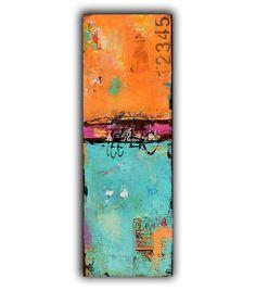 Abstract Contemporary Art on wood. 12x36 painting door erinashleyart