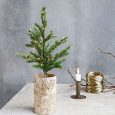 House Doctor Small Green PE Plastic and Wood Deco Tree with Leds - Trouva