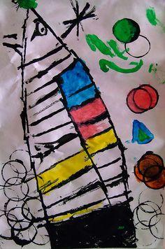 Pintura infantil inspirada en Joan Miró