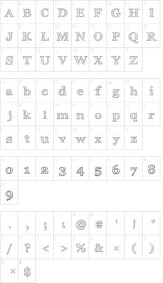 Archistico Normal font character map