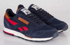 Reebok Classic Leather Utility (Navy, Red & Brown)