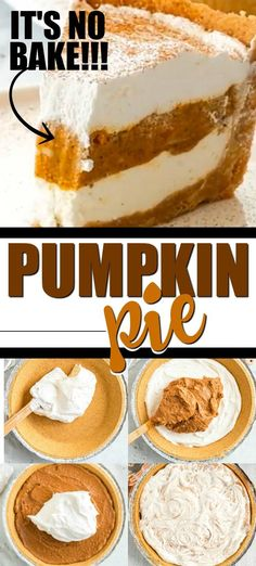 This nobake pumpkin pie is a great twist on the classic pumpkin pie It features a graham cracker crust filled with perfect layers of pumpkin pie filling spices cream chee. No Bake Pumpkin Cheesecake, No Bake Pumpkin Pie, Pumpkin Pie Recipes, Baked Pumpkin, Pumpkin Recipes Easy Quick, Pumpkin Pies, Pumpkin Pie Fillings, Pumpkin Pie Recipe With Pumpkin Spice, Pumpkin Pie Drink Recipe