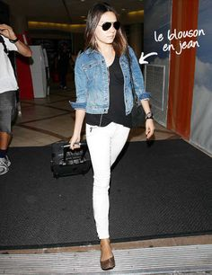 White jeans, black shirt, Jean jacket, looks comfy and casual!!!