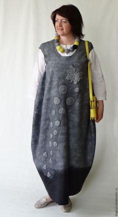 Купить Валяный сарафан в стиле бохо. - однотонный, авторская ручная работа, женская одежда