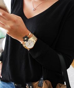 """Style twist on basic outfit by upgrading it with trendy accessories: Michael Kors watch or Tori Burth Leopard Ballerinas. Seen on """"http://kates-fashionblog.blogspot.co.at"""""""
