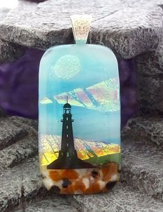 Dichroic Fused Glass Pendant A Lighthouse US Art#2888 LolasGlassPendants #LolasGlassPendants #PendantforNecklace