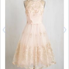 Worn once gorgeous blush and gold dress Beautiful tulle and lace dress!  Perfect for wedding season or a spring fling!  Worn once for Easter, fit true to size and very comfortable. ModCloth Dresses Midi