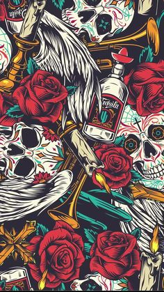 Seamless pattern with Skull, tequila, red roses and candles. Wallpaper Background Design, Pop Art Wallpaper, Trippy Wallpaper, Skull Wallpaper, Galaxy Wallpaper, Cartoon Wallpaper, Wallpaper Backgrounds, Apple Wallpaper, Sticker Bomb Wallpaper