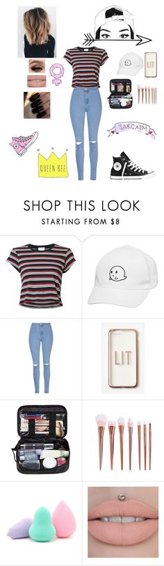 """""""Teen"""" by laceshorts ❤ liked on Polyvore featuring RE/DONE, Glamorous, Missguided, Handle, Forever 21, Floss Gloss, Converse and Queen Bee"""