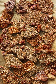 7-ingredient Quinoa Brittle sweetened with maple syrup and coconut sugar, and it's butter-free! Crispy, crunchy, nutritious - a healthier dessert or snack!