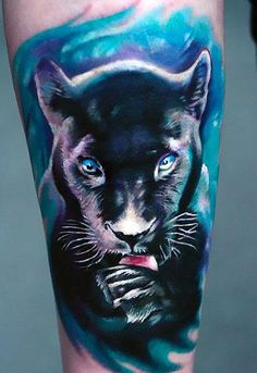 Beautiful black panther on the arm. Style: Realistic. Tags: Beautiful, Awesome