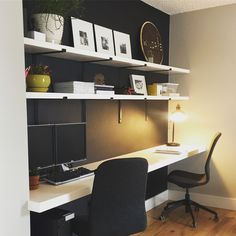 Worldly Gray SW 7043 with Tricorn Black SW 6258 study. Worldly Gray, Home Office, Corner Desk, Loft, Study, Bedroom, Projects, Furniture, Black