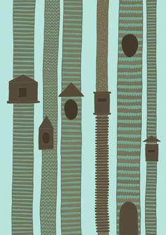 ilustraciones,Illustrations,Anita Ivancenko,Letonia,Latvia,Inglaterra,UK,azul,verde,marron,green,brown,casa,pajaro,arbol,house,bird,tree