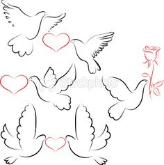Dove with heart Royalty Free Stock Vector Art Illustration