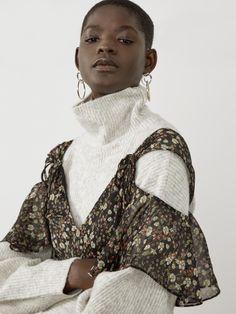 French Connection Halle Crinkle Floral Cold Shoulder Dress